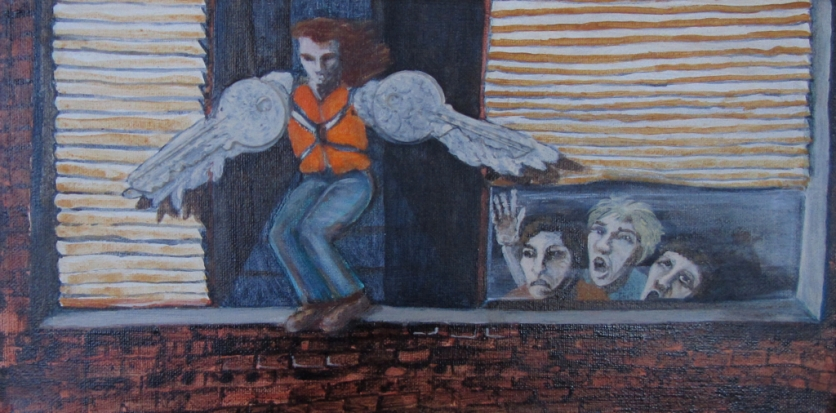 """Artist straps on wings...5"""" x 10"""" 2014"""