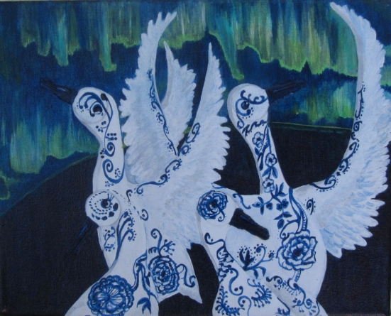 """Delft Geese 10"""" x 8"""" 2011"""