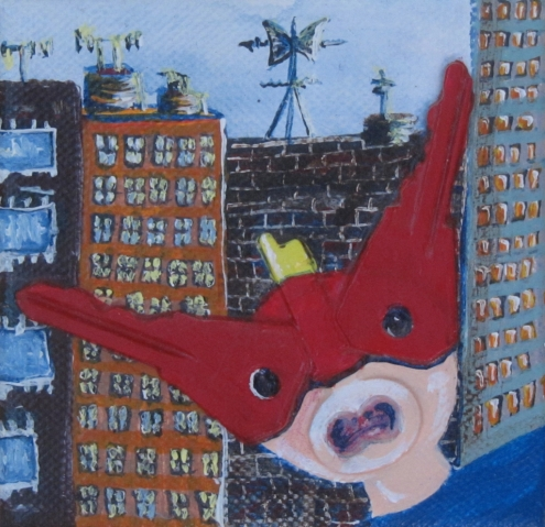 "Trouble in The City 3"" x3"" $60.00"