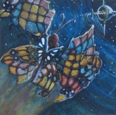 "SpaceMoth 6"" x 6"" $120.00"