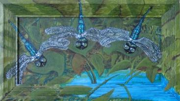 "Three Dragonflies 14"" x 8"" 2010"