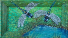 """Two Dragonflies 14"""" x 8"""" 2010"""