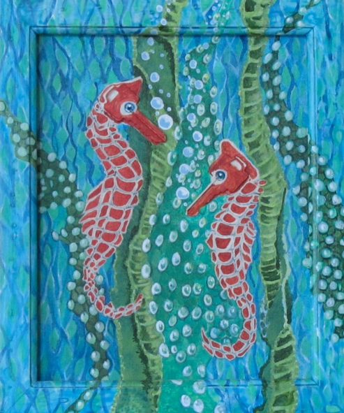 "Two Seahorses 9"" x 11"" $200.00"