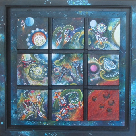 "space patrol acrylic/mixed media 18"" x 18"" $550.00"