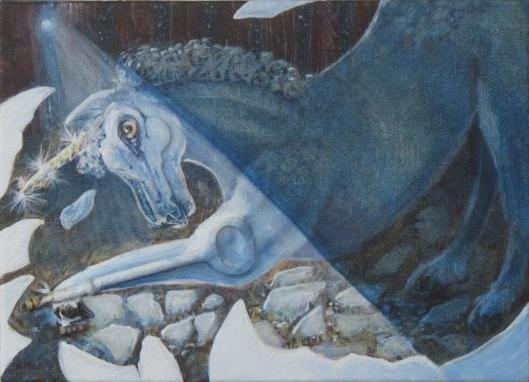 "Birth of a Unicorn 7"" x 5"" SOLD"