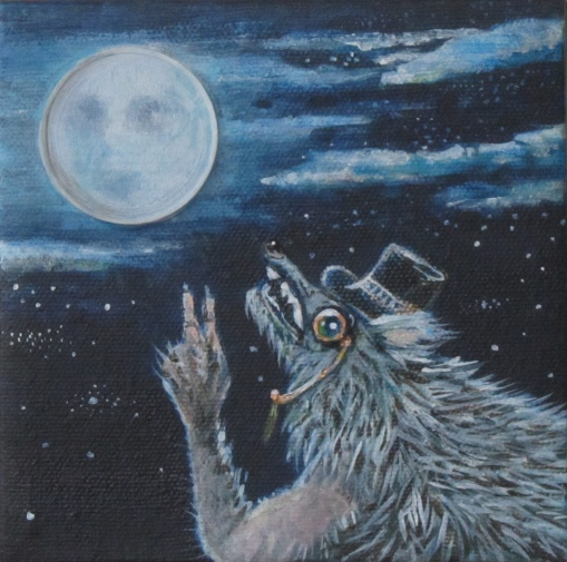"Almost FullMoon 5"" x 5"" $110.00"