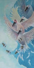 """WIP Birds and Bees 10"""" x 20"""" $360.00"""